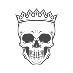 Skull King Crown design element. Vintage Royal illustration in medieval style. Dark Kingdom insignia concept