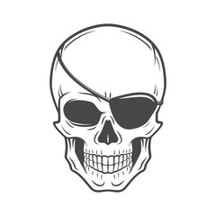 Jolly Roger with eyepatch logo template. Evil skull vector. Dark t-shirt design. Pirate insignia concept