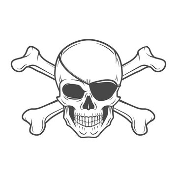 Jolly Roger with eyepatch and crossbones logo template. Evil skull vector. Dark t-shirt design. Pirate icon