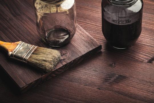 paintbrush on wood