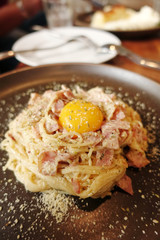 Spaghetti Carbonara with bacon and cheese.