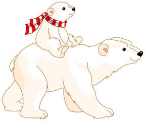 Canvas Prints Fairytale World Polar Bear Mom and Baby
