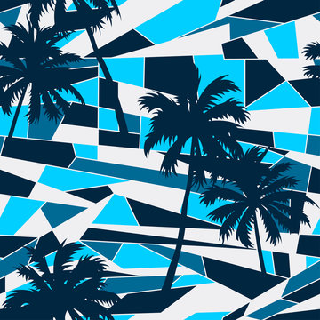 Abstract surf pattern with palm trees seamless pattern