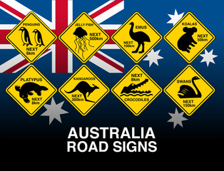 Australian yellow road warning signs with flag