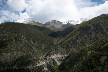 mountain and road form Kunming to Shangri-la, China
