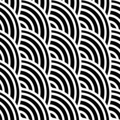 Black and white curved lines in a seamless pattern