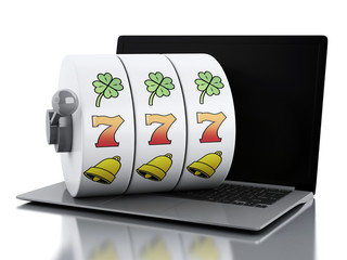 3d Laptop with slot machine.