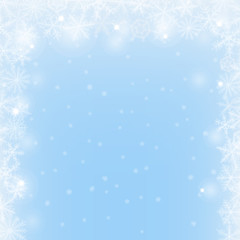 Abstract Christmas light  blue border background with snowflakes.