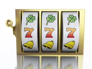 3d Slot machine. Casino concept.