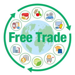 Free trade and various trading goods, services, vector icons and illustrations