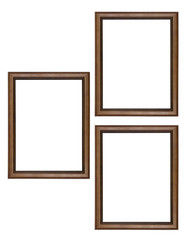 Wooden picture frame on white background.