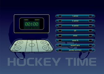 Ice hockey rink, scoreboard and game statistic vector illustration