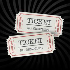 Poster Vintage Poster Two old-fashioned cinema tickets on dark sunburst monochrome bac