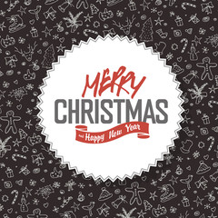 Merry Christmas Greeting Card. White label with lettering on han
