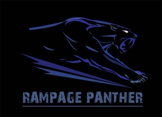 panther, fang face muscular panther, roaring and crawling in the dark. blue line art over the black background. glowing exotic panther. black panther with the lighting eye.