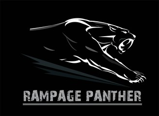 panther, fang face muscular panther, roaring and crawling in the dark. white line art on the black background. exotic panther.