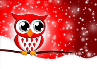 Eule im Schnee für Weihnachten und Sylvester