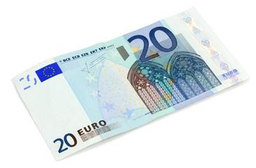 Twenty Euro banknote on white background