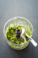 Homemade pesto sauce in food processor