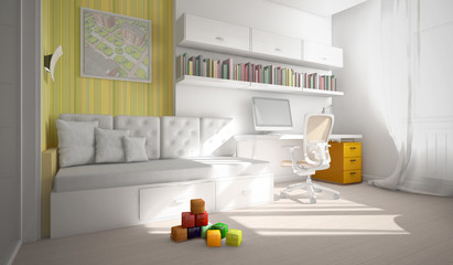 Interior of the child-room 3D rendering