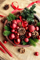 Christmas tree and red ornament balls with ribbon