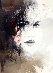 woman face, abstract watercolor .fashion background