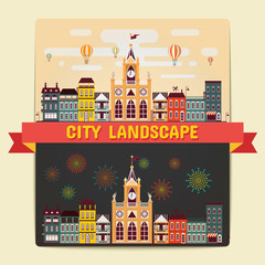 City Landscape, Element of City Landscape view Day and Night scene Vector Illustrations