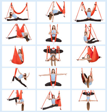Young woman doing aerial yoga