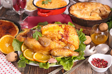 roasted meat, apple pie, mashed potato