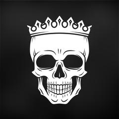 Skull King Crown design element. Vintage Royal illustration in medieval style. Dark Kingdom insignia concept on black background