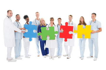 Confident Medical Team Holding Jigsaw Pieces