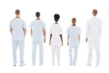 Medical Team Standing Against White Background