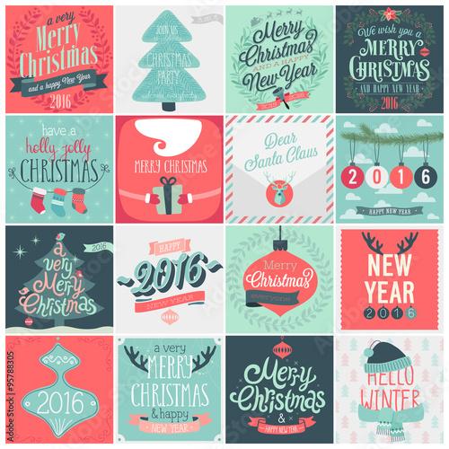 Wall mural Christmas set - labels, emblems.