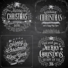 Wall Mural - Set of Christmas emblems - Chalkboard.