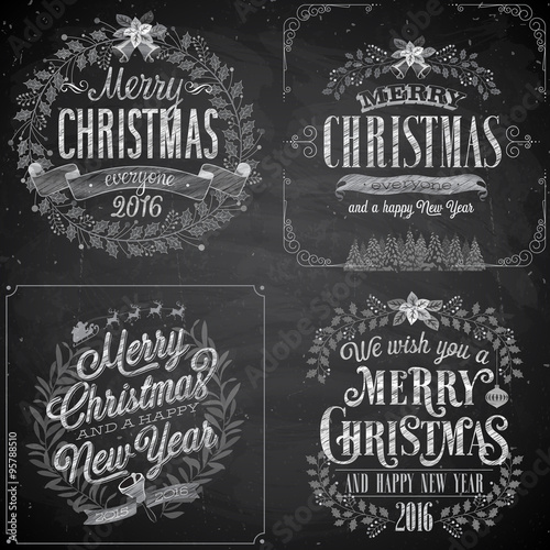 Wall mural Set of Christmas emblems - Chalkboard.