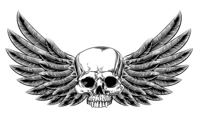 Vintage Woodcut Winged Skull