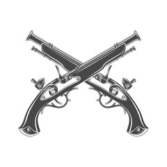 Firelock musket vector. Armoury logo template. Victorian t-shirt design. Steampunk pistol insignia concept