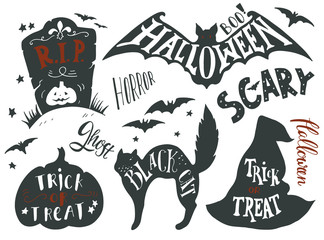 Collection of Halloween symbols with hand lettering
