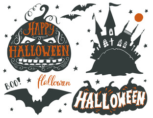 Set of Halloween symbols with hand lettering.