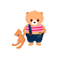Little Bear Cub holding a Teddy Toy. Vector Illustration