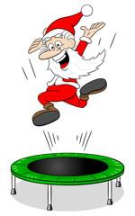 Weihnachtsmann auf einem Mini Trampolin