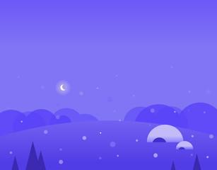 Wallpaper Landscape of Winter Hills, Igloo and Moon, Vector Illustration