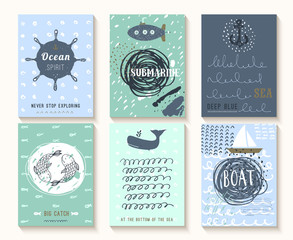 Set of hand drawn vintage nautical cards with grunge patterns an