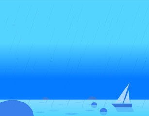 Wallpaper Landscape of Seascape and Sail, Vector Illustration