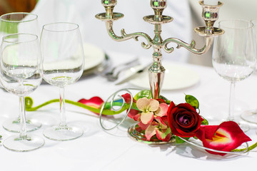 Table set for wedding or event party.