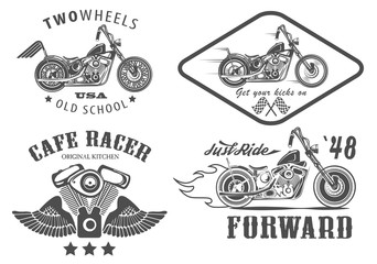 Set of vintage motorcycle badges