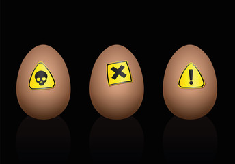 Eggs with hazard symbols on it - warning against unhealthy food or nutrition. Isolated vector illustration on black background.