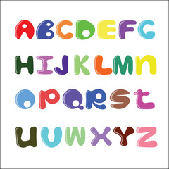 Funny cartoon alphabet, round letters.