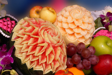 Fruit carving wedding culture of Thailand.