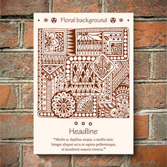 Ethnic floral doodle pattern in vector. Brick wall